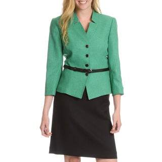 Tahari Arthur S. Levine Women's Inverted Notch Collar Snakeskin Belt Skirt Suit