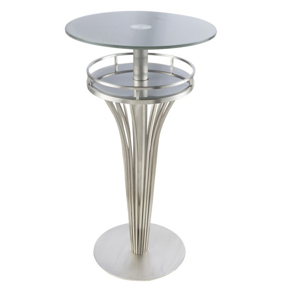 Yukon Contemporary Bar Table In Stainless Steel And Grey Frosted Tempered Gl