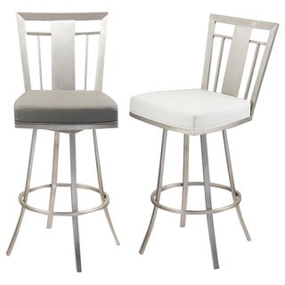 ARMEN LLIVING Cleo 26-inch Modern Grey Leatherette and Brushed Stainless Steel Barstool