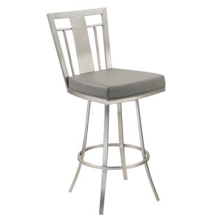 Cleo 30-inch Modern Barstool In Grey Leatherette and Brushed Stainless Steel