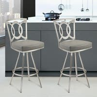 Drake 26-inch Modern Barstool In Grey Leatherette and Brushed Stainless Steel