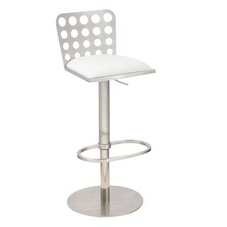 Dune Contemporary Barstool In White Leatherette and Stainless Steel