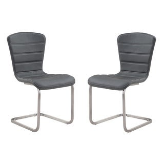 Cameo Contemporary Coffee Leatherette Side Chair with Stainless Steel Legs (Set of 2)