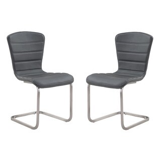 Cameo Contemporary Coffee Leatherette Dining Chair with Stainless Steel Legs (Set of 2)