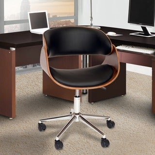 Armen Living Julian Chrome Finish Modern Office Chair with Black Faux Leather and Walnut Veneer Back