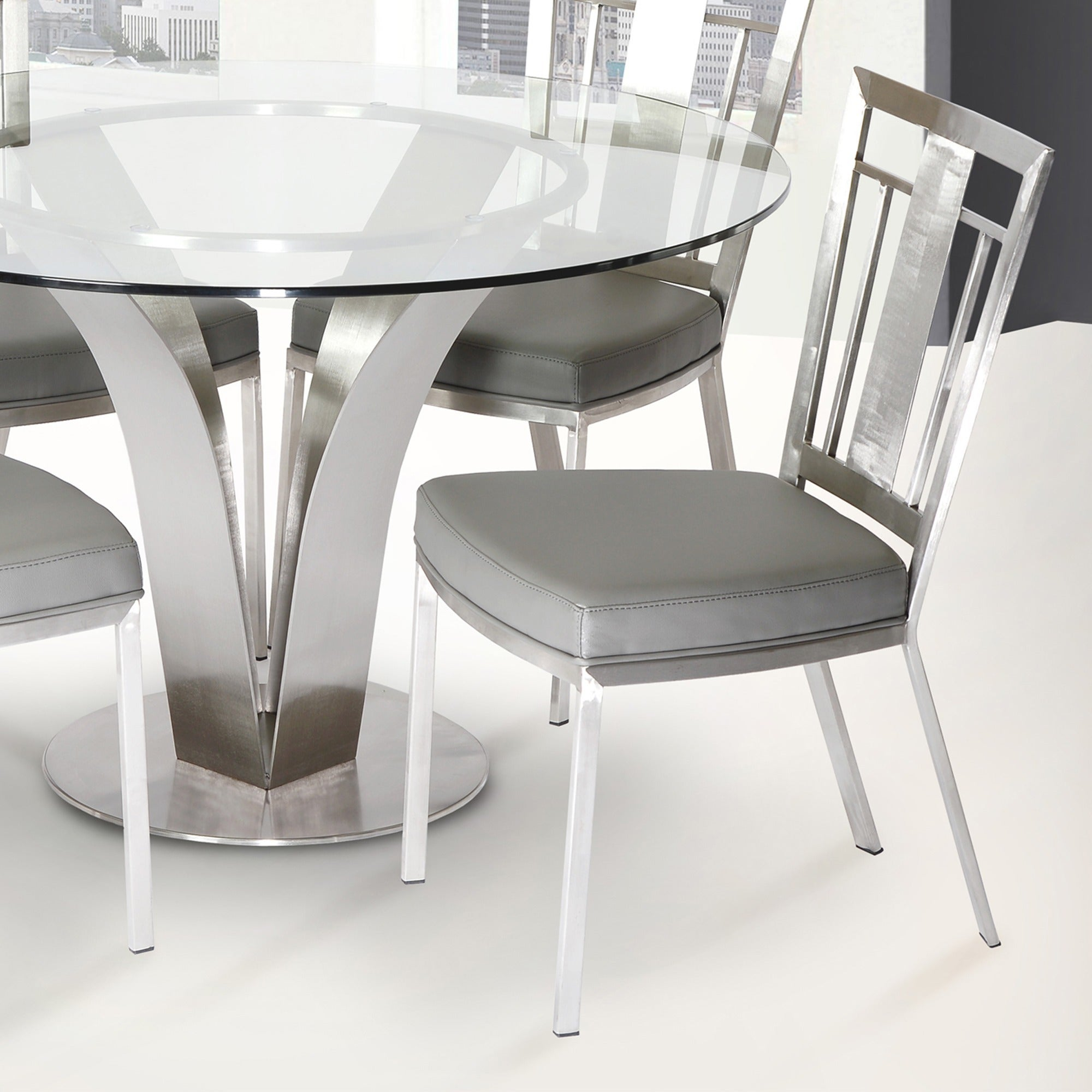 Cleo Contemporary Dining Chair In Grey Leatherette And Stainless Steel Set Of 2