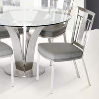 Cleo Contemporary Dining Chair In Grey Leatherette and Stainless Steel (Set of 2)
