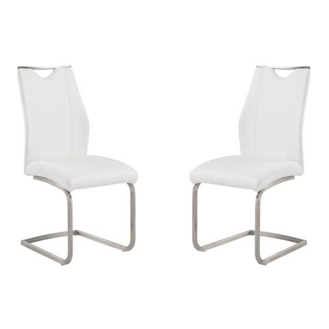 Bravo Contemporary Dining Chair In Coffee Leatherette and Stainless Steel (Set of 2)