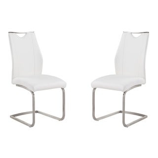 Bravo Contemporary Side Chair In Coffee Leatherette and Stainless Steel (Set of 2)