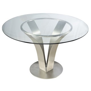 Cleo Contemporary Dining Table In Stainless Steel With Clear Tempered Glass - Silver
