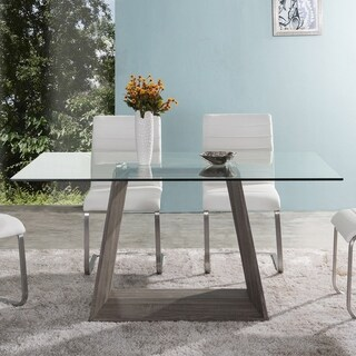 Bravo Contemporary Dining Table In Dark Sonoma Base With Clear Glass Top - Brown
