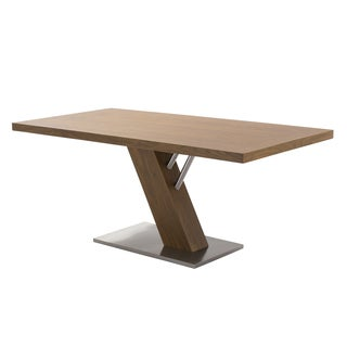 Armen Living Fusion Contemporary Walnut Wood Veneer Top and Stainless Steel Dining Table