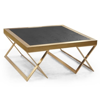 Armen Living Jasper Modern Coffee Table In Gold With Black Wood Veneer Top