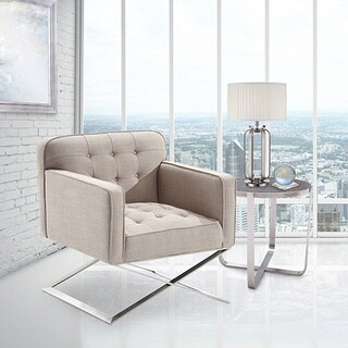 Armen Living Chilton Modern Chair In Grey Fabric and Steel Finish