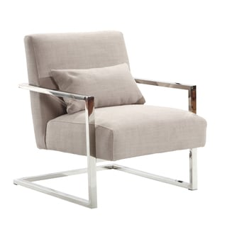 Armen Living Skyline Modern Accent Chair In Grey Linen and Steel