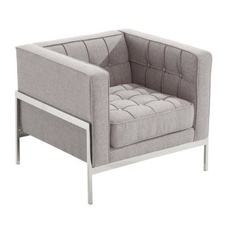 Armen Living Andre Tufted Contemporary Chair In Grey Tweed and Stainless Steel