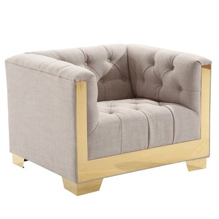 Armen Living Zinc Tufted Contemporary Chair In Taupe Tweed and Shiny Gold Finish