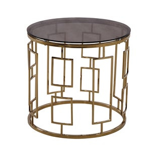 Armen Living Zinc Contemporary End Table In Shiny Gold With Smoked Glass Top