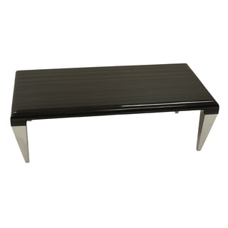 Armen Living Chow Contemporary Marble Coffee Table in Black Marble and Stainless Steel Finish