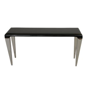 Armen Living Chow Contemporary Marble Console Table in Black Marble and Stainless Steel Finish