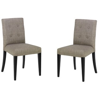 Armen Living Tufted Wall St. Grey Fabric Side Chair (Set of 2)