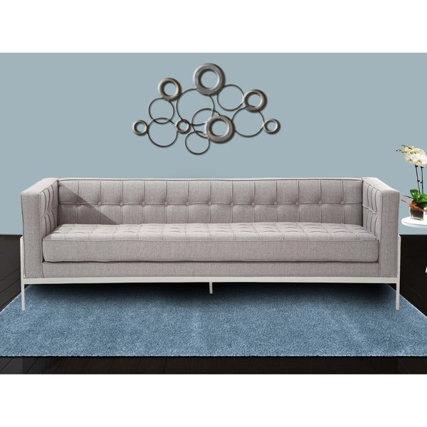 Armen Living Andre Contemporary Sofa In Grey Tweed And Stainless Steel