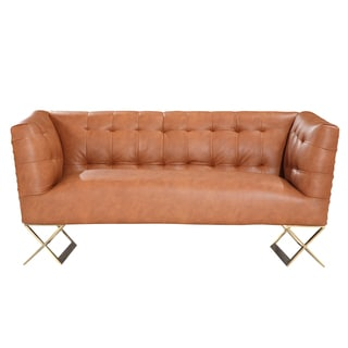 Armen Living Jasper Modern Loveseat In Gold Matte Finish With Chestnut Leatherette
