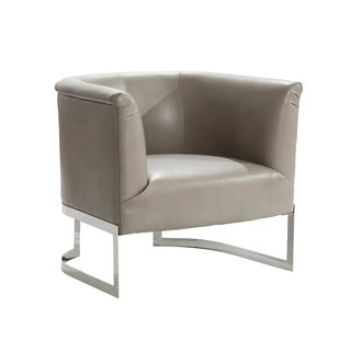 Armen Living Elite Contemporary Accent Chair In Smoke Bonded Leatherette and Steel