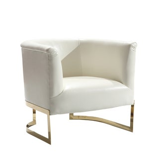 Armen Living Elite Contemporary Accent Chair In White Leatherette and Gold Finish