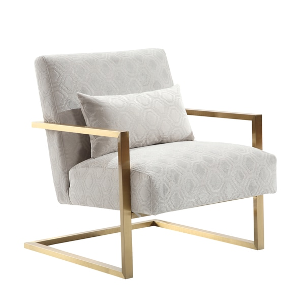 Shop Armen Living Skyline Modern Accent Chair In Cream