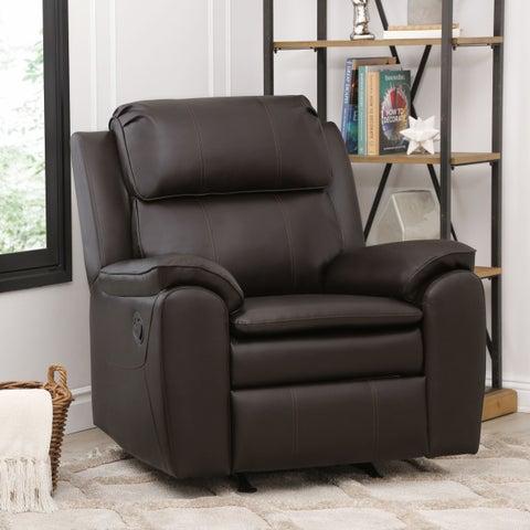Abbyson Harbor Dark Brown Leather Rocker Recliner Chair