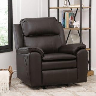 Abbyson Harbor Dark Brown Leather Rocker Recliner Chair