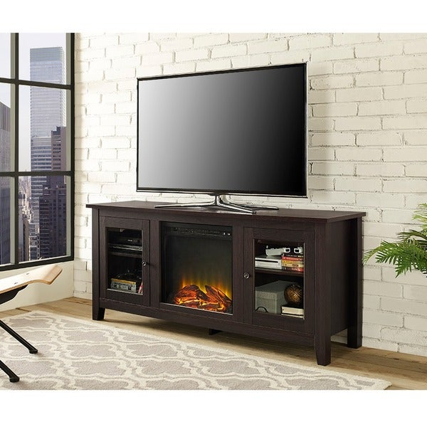 Shop 58 Fireplace Tv Stand Console Espresso 58 X 16 X 24h