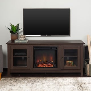58-inch Espresso Fireplace TV Stand with Glass Doors