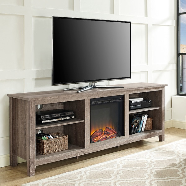 Shop 70 Tv Stand Console With Fireplace Driftwood 70 X 16 X 24h