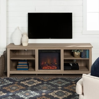 "70"" TV Stand Console with Fireplace - Driftwood - 70 x 16 x 24h"