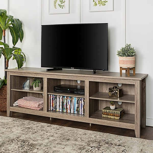 Shop Porch Den Dexter 70 Inch Driftwood Tv Stand On Sale Free