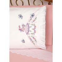 Stamped Ruffled Edge Pillowcases 30inX20in 2/PkgLady With Butterflies