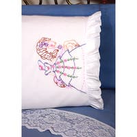 Stamped Ruffled Edge Pillowcases 30inX20in 2/PkgCarousel Lady