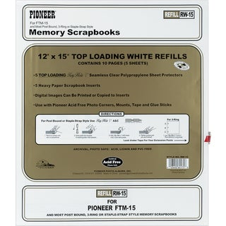 Post Bound TopLoading Page Protectors 5/Pkg12inX15in (W/White Inserts)