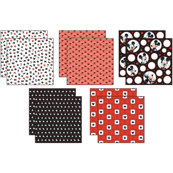 Disney Mickey Black/White/Red Paper Pack 12inX12in 10 Sheets2 Each/5 Textured Papers