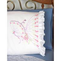 Stamped Ruffled Edge Pillowcases 30inX20in 2/PkgUmbrella Lady