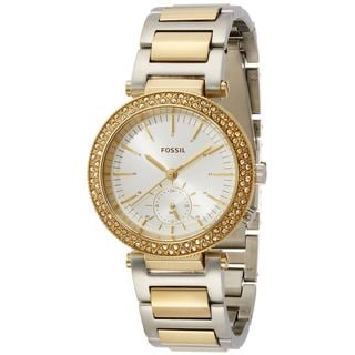 Fossil Women's ES3850 'Urban Traveler' Multi-Function Crystal Two-Tone Stainless Steel Watch