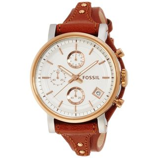 Fossil Women's ES3837 'Original Boyfriend' Chronograph Brown Leather Watch