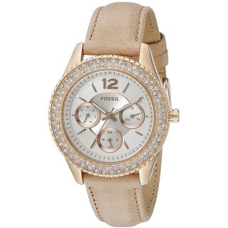 Fossil Women's ES3816 'Stella' Multi-Function Crystal Brown Leather Watch