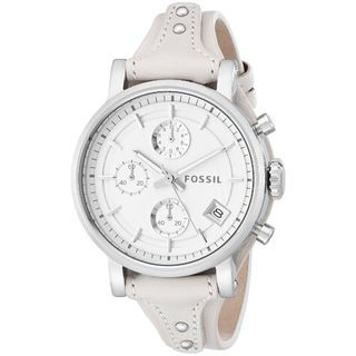 Fossil Women's ES3811 'Original Boyfriend' Chronograph White Leather Watch