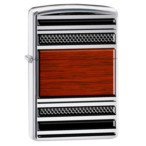 Zippo Steel And Wood High Polish Chrome Windproof Lighter