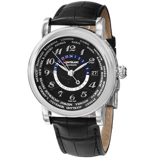 Mont Blanc Men's 109285 'Star' Black Dial Black Leather Strap World Time Swiss Automatic Watch