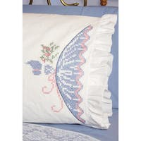 Stamped Ruffled Edge Pillowcases 30inX20in 2/PkgCross Stitch Lady