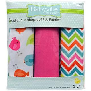 Babyville PUL Waterproof Diaper Fabric 21inX24in Cuts 3/PkgLittle Birds, Chevron & Pink
